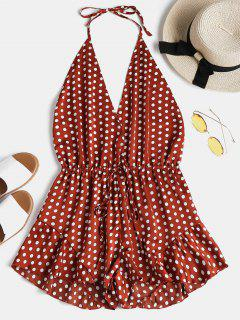 Polka Dot Backless Halter Romper - Chestnut Red M