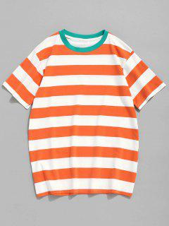 Round Neck Striped Cotton Tee - Tangerine M