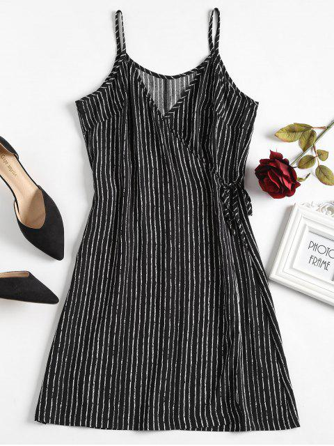 trendy Striped Wrap Nightdress - BLACK L Mobile