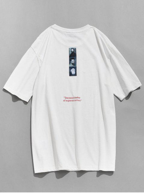 T-shirt Imprimé Décontracté à Col Rond - Blanc 2XL Mobile
