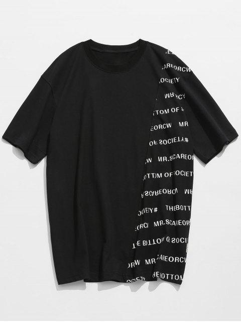 sale Letter Print Cotton Short Sleeve T-shirt - BLACK L Mobile