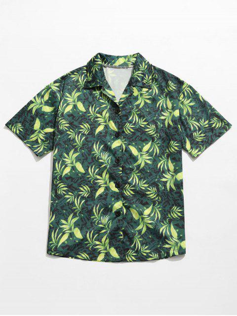 Camisa de verano con estampado de hojas - Verde M Mobile
