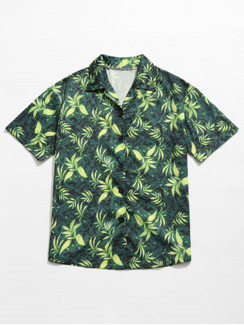 best Leaves Print Summer Hawaii Shirt - GREEN 2XL Mobile