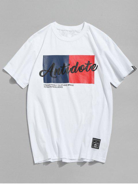 T-shirt Décontracté Lettre Imprimé en Coton - Blanc 2XL Mobile