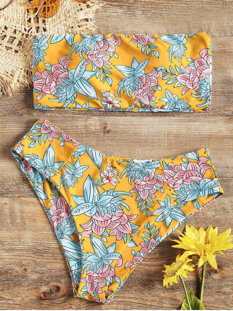 Hohe Schitz Blumen Bandeau Bikini Set - Gelb S Mobile