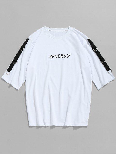 Camiseta con bordado de algodón en el ojal - Blanco 2XL Mobile