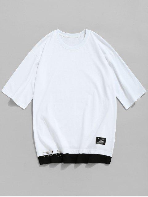 shops Grommet Cotton Crew Neck T-shirt - WHITE 3XL Mobile