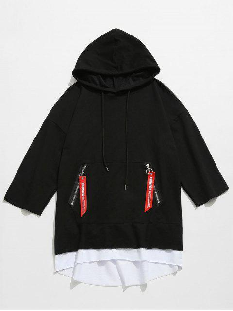 shops Hooded Kangaroo Pocket Zip Lace-up Tee - BLACK 2XL Mobile