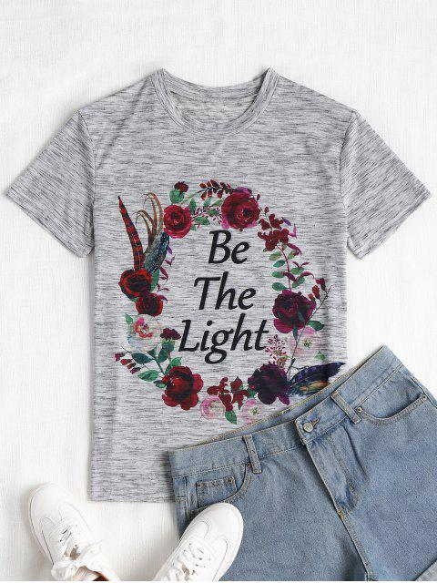 ladies Floral Letter Print Heathered Tee - GRAY L Mobile