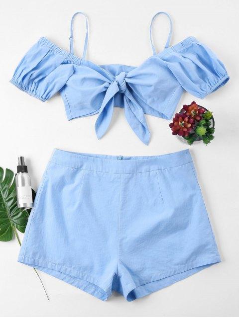 Bowknot Crop Top Shorts Conjunto de dos piezas - Azul Claro XL Mobile