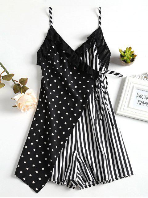 Spot Stripe Surplice Cute Romper - Negro M Mobile