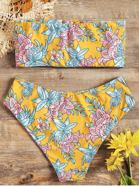 online High Cut Floral Bandeau Bikini Set - YELLOW L Mobile