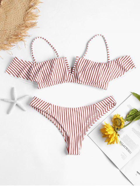 womens Ruffle Striped V-wired High Leg Bikini Set - MULTI M Mobile