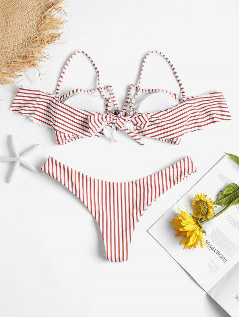 women Ruffle Striped V-wired High Leg Bikini Set - MULTI L Mobile