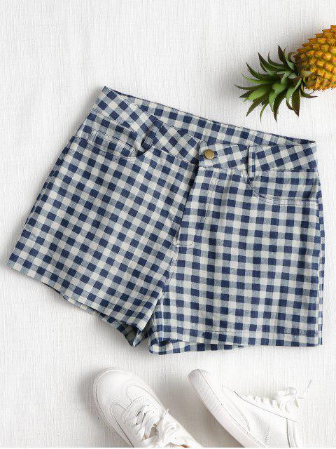 Hohe Taille Karierte Shorts - Dunkles Schieferblau S Mobile