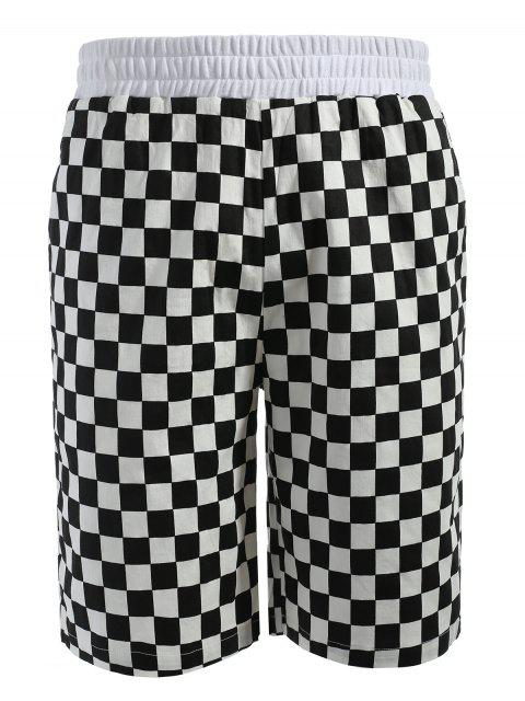 unique Grid Pattern Casual Shorts - MULTI L Mobile