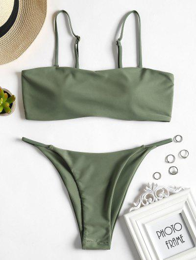 Padded Bandeau Thong Bikini Set - Dark Sea Green L