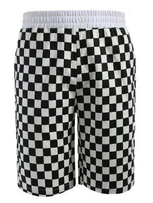 Grid Pattern Casual Shorts