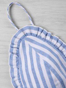 Striped Conjunto Claro Piezas Azul De Xl Ruffle Shorts Dos ZRqrZA