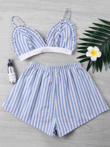 Conjunto Shorts Claro Xl Piezas De Dos Ruffle Azul Striped Cnxp6Fwq
