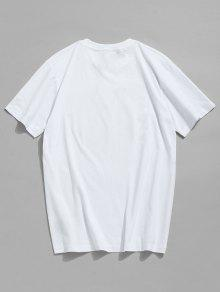 Algod De Con De 243;n Informal Camiseta L Blanco Estampado Letras BSxwnwHqC