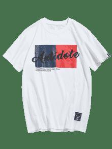 243;n Letras Estampado Algod Informal De Camiseta Blanco Con De L q7pxT