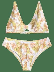 Amarillo L Estampado Con Bikini De Ba o Hojas Traje De FXqz88U