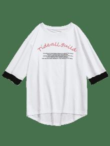 L Print Half Tiger Letra Blanco T Sleeve shirt UqOxH6