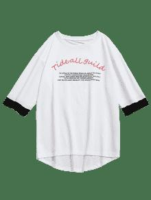 T Blanco Sleeve Print Half shirt Letra Tiger L zFv4CC