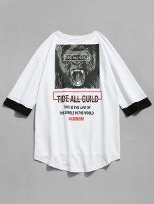 L Print Blanco Tiger Sleeve T Letra shirt Half 0Uq8x1B
