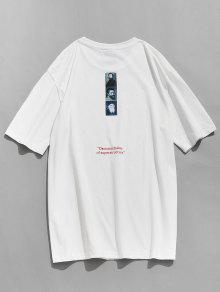 Camiseta Redondo Estampado Informal Cuello L Con Blanco rzqArxEn