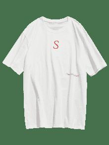 Informal Cuello L Blanco Camiseta Con Estampado Redondo pfnzxxq6I