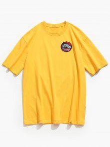 2xl Mostaza Redondo Con Estampada Cuello Camiseta WqAvv7