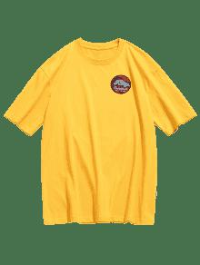 Estampada Camiseta Mostaza Con Redondo Cuello 2xl PFwqdF7