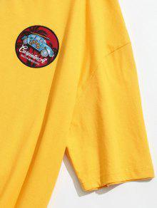 Cuello Con Estampada Camiseta Mostaza 2xl Redondo SOZnqwx