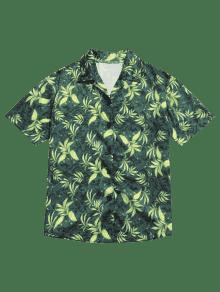De Verano Verde Estampado Camisa Con Hojas De M qAS5d6w