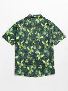 Hojas Estampado Con Verde De De Camisa Verano M XF8qvwTRx