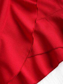 Rojo S De Superpuestos Minivestido Volantes Anudados w0xpUq0YI