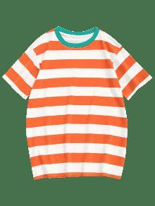 De Algod Xl Y Mandarina 243;n Cuello Redondo Camiseta Con Rayas 4C5qdwC