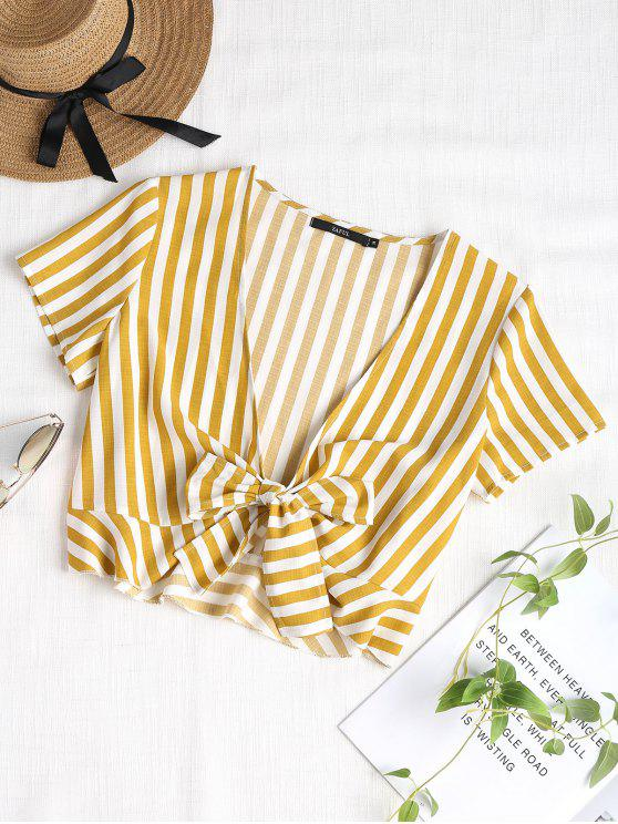 best Ruffles Striped Knotted Blouse - GOLDEN BROWN L