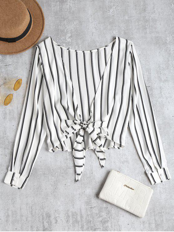 hot Striped Knotted Back Blouse - WHITE M