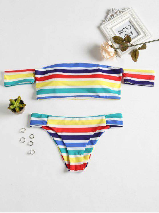 affordable Rainbow Striped Off Shoulder Bikini - MULTI L