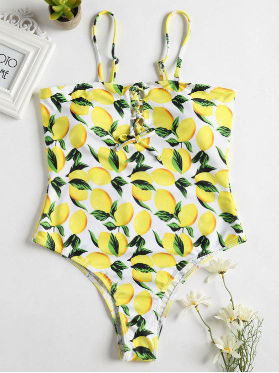 Lemon Lace-Up High Leg Swimsuit