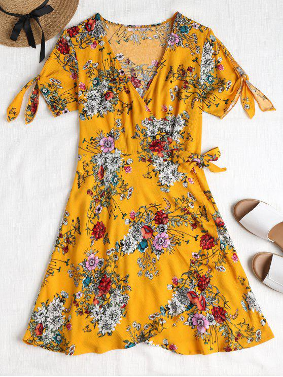 lady Floral Plunge Wrap Dress - BEE YELLOW L