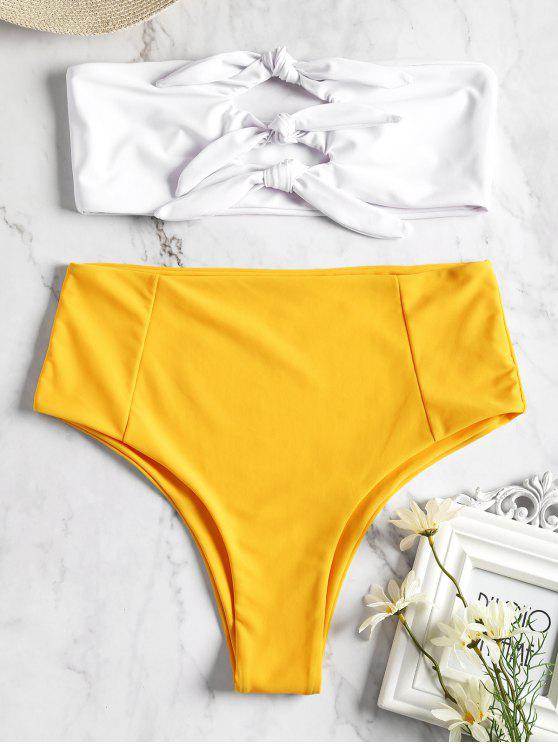 buy Knotted High Waisted Bandeau Bikini - YELLOW M