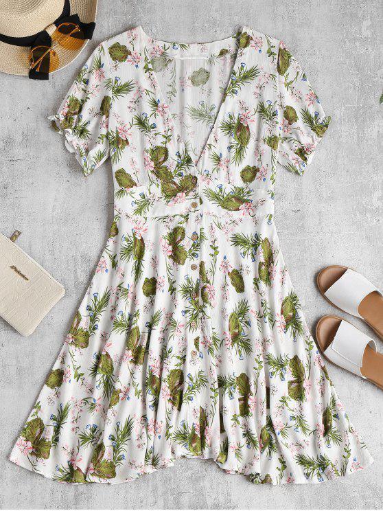 fancy Floral Midi Skater Tea Dress - WHITE S