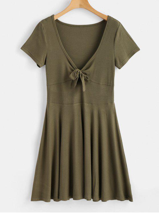 0d10840ae2 2019 Tied Front Low Cut Dress In ARMY GREEN S