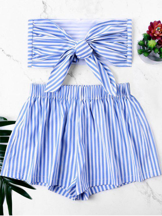 womens Knot Bandeau Top with Striped Shorts Set - BLUE XL