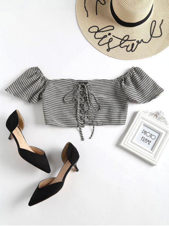Blusa con cordones a rayas - Negro L