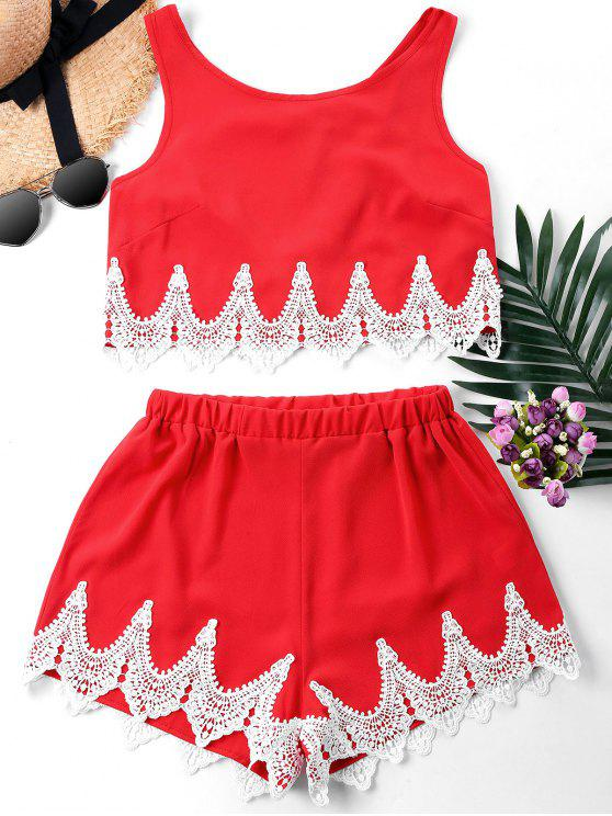 hot Crochet Panel Shorts Two Piece Set - FIRE ENGINE RED XL